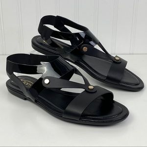 Tod's Patent Leather Black Strap Glossy Sandal 41